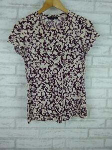 Saba-Ladies-Tee-T-Shirt-Top-Maroon-Cream-print-Sz-XXS-6