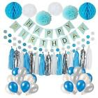 Litaus Frozen Theme White and Blue Party Decorations for girls, balloons, Pom ,