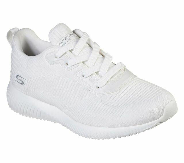 Skechers Bobs Squad Damen Sneakers Turnschuhe Laufschuhe 31347 Wht Weiß Neu