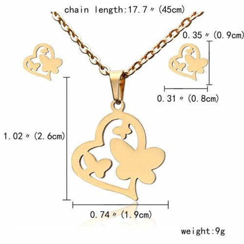 Fashion Jewelry Set Stainless Steel Womens Gold Pendant Necklace Earrings Gifts