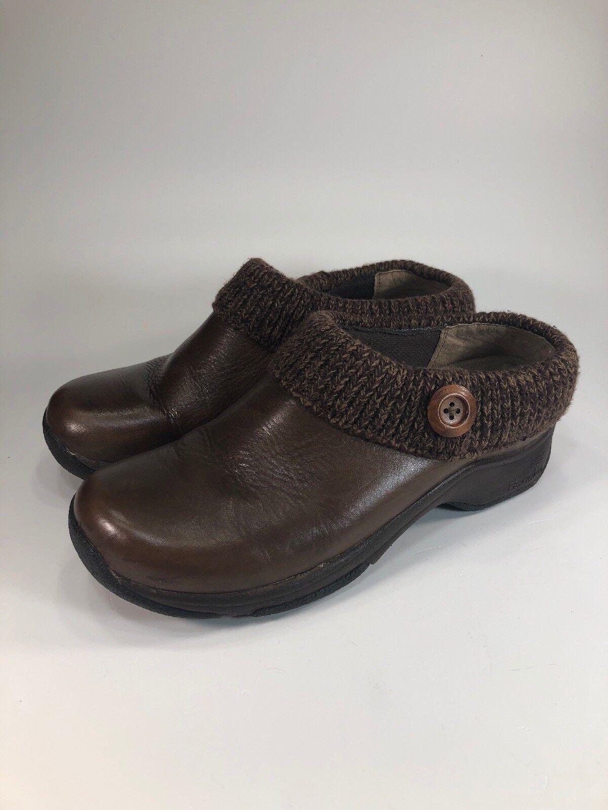 Dansko Brown Leather Slip On Clogs Knit Lined Womens Size 9.5 M EU40
