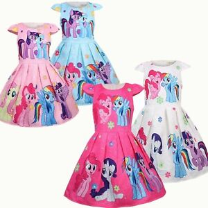 Girls-Skater-Dress-Kids-My-Little-Pony-Print-Casual-Party-Birthday-Dresses-L7