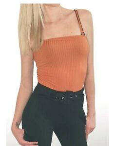 Size 12 I saw it first orange rust strappy cami bodysuit BNWT