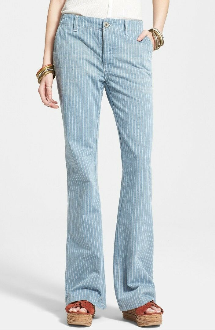 Free People Jeans - Railroad Stripe Flare Solar bluee White Size 27 1411