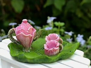 Miniature Dollhouse FAIRY GARDEN ~ Small Pink Flower & Leaf Tea Set ~ NEW