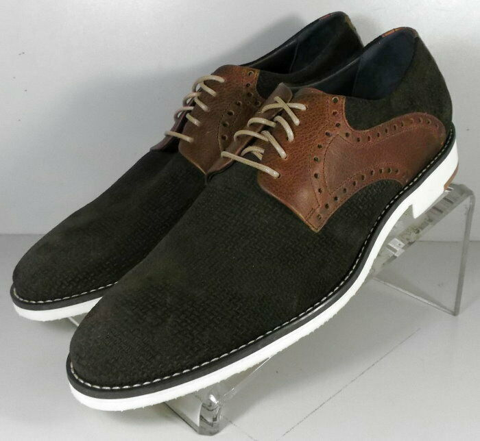 59NP16202 SP50 Mens Shoes Size 9 M Brown Suede / Leather Lace Up Johnston Murphy