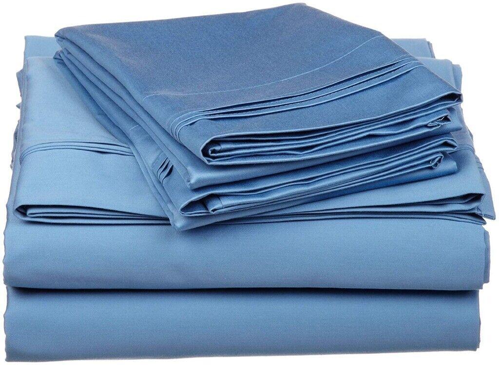 4pc Queen Medium Blau Superior 100% Egyptian Cotton Sheet Set Triple Pleated Hem