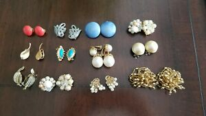 Vintage-Colorful-Bead-Cluster-Clip-On-Earring-Sets-Lot-of-12-Pairs