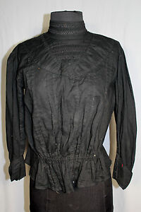 RARE-FRENCH-EDWARDIAN-BLACK-COTTON-FITTED-28-034-WAIST-BLOUSE-SIZE-38-40
