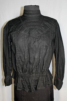 Rare French Edwardianisch Schwarz Baumwolle 28 Taille Bluse Größe 38-40