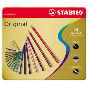 STABILO Original 24 Colores Lápices De Mina Delgado De Precisión Estuche Metal