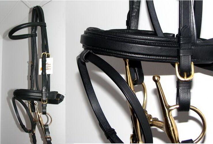FSS  German Posh SQUARE RAISED Padded BRASS Comfort Crank Bridle Dressage Reins  on sale 70% off