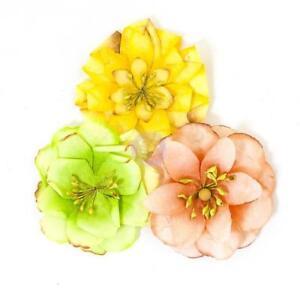 Prima Flowers Joli Green Yellow Paper Flowers Home Decor Planner