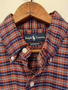 Ralph-Lauren-Custom-Fit-Men-039-s-Medio-a-Cuadros-Botones-Camisa-Azul-Naranja