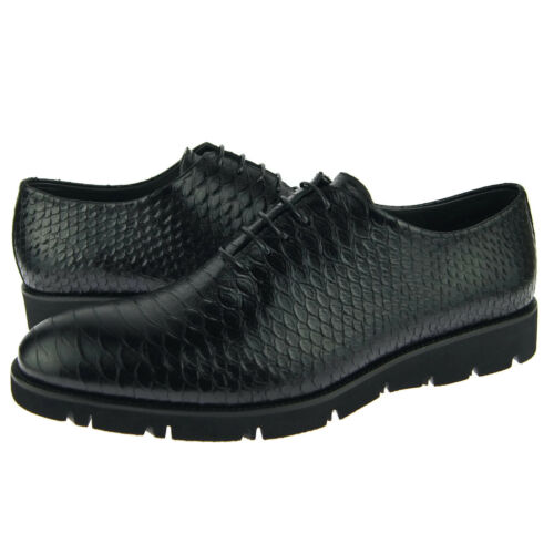 Corrente 4783 Casual Oxford, Snake Print Men's Leather Shoes, Black Python