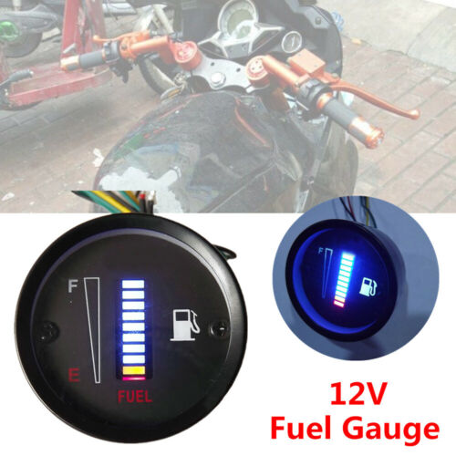 1X Universal 2 inch 52mm 10LED Fuel Level Meter Digital Gauge Car Motorcycle 12V
