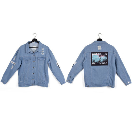 Women Fashion Retro Frayed Letter Patch Jean Bomber Jacket Light Blue Denim Coat