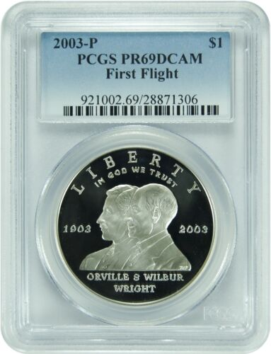 2003-P PCGS PR69DCAM First Flight Dollar New PCGS Label