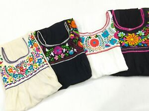 Handmade-Puebla-Mexican-Hippie-Peasant-Vintage-Embroidered-Artisan-Blouse-Top