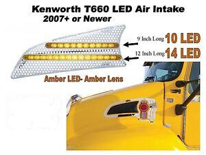 Kenworth T660 LED Air Intake - (Driver) Amber/Amber