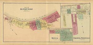 1877 Map Ohio River Maysville Chester Woodville Dover Mason County