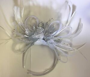 Image is loading BESPOKE-White-and-Silver-Fascinator-Headband-UK-Wedding- 2c3d8f2b639