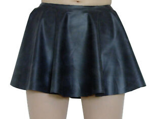 Rubber-Skirt-Circle-Skating-Black-Mini-Latex-Silicone-Mix-M-L-Roleplay-Short