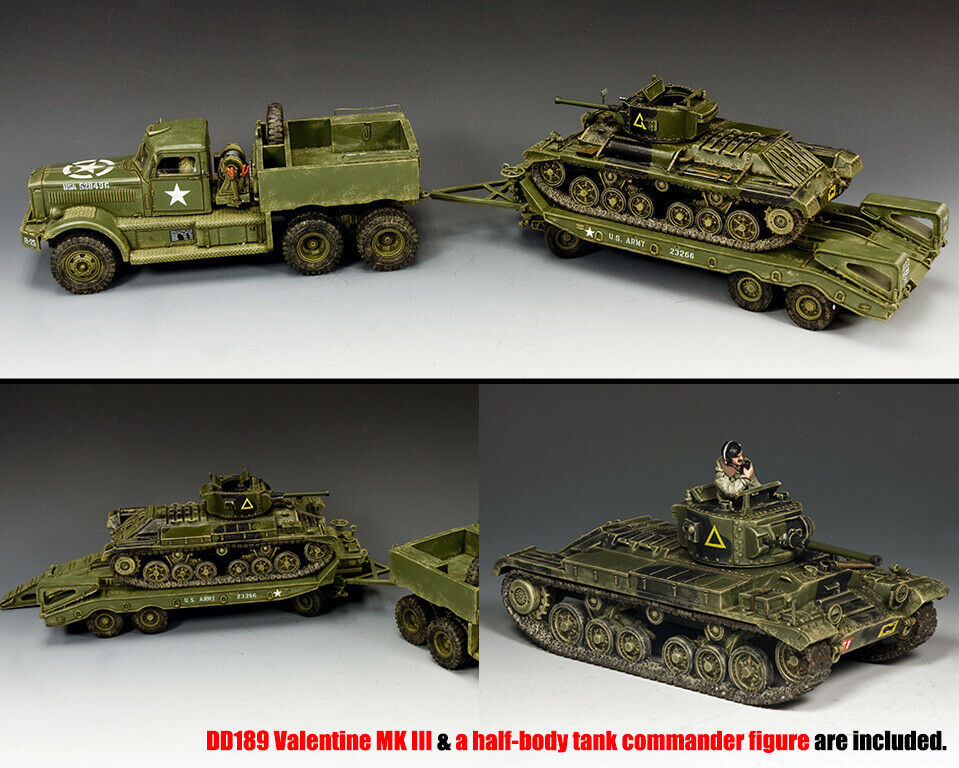King & Country D Day DD318-S02 U.S.Diamant T Tank Transporter Set mit Tank