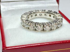 4.30 Ct Round Moissanite Wedding Eternity Band Real 18K White Gold Ring Size 7 8
