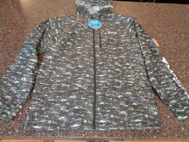 "New Mens Columbia /""Morning View/"" Printed Water-Resistant Windbreaker Rain Jacket"