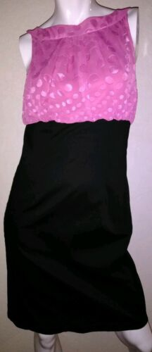 Juniors Sexy Halter Dress Black Stretch Pink Polka