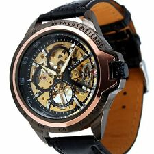 Ess Men's Skeleton Dial Leather Mechanical Watch Wm267 Rosegold-Imported