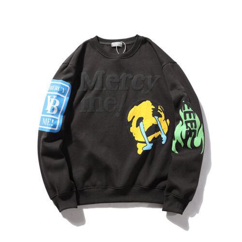 Mens Graffiti Letter Print Plus Velvet Sweatshirt Hip Hop Hoodie