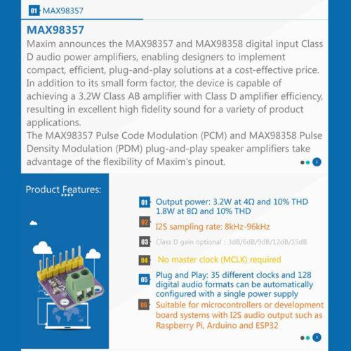 2X Max98357 I2S 3 Watt Klasse D Verstärker AUSBrechen Schnittstelle Dac I4W5