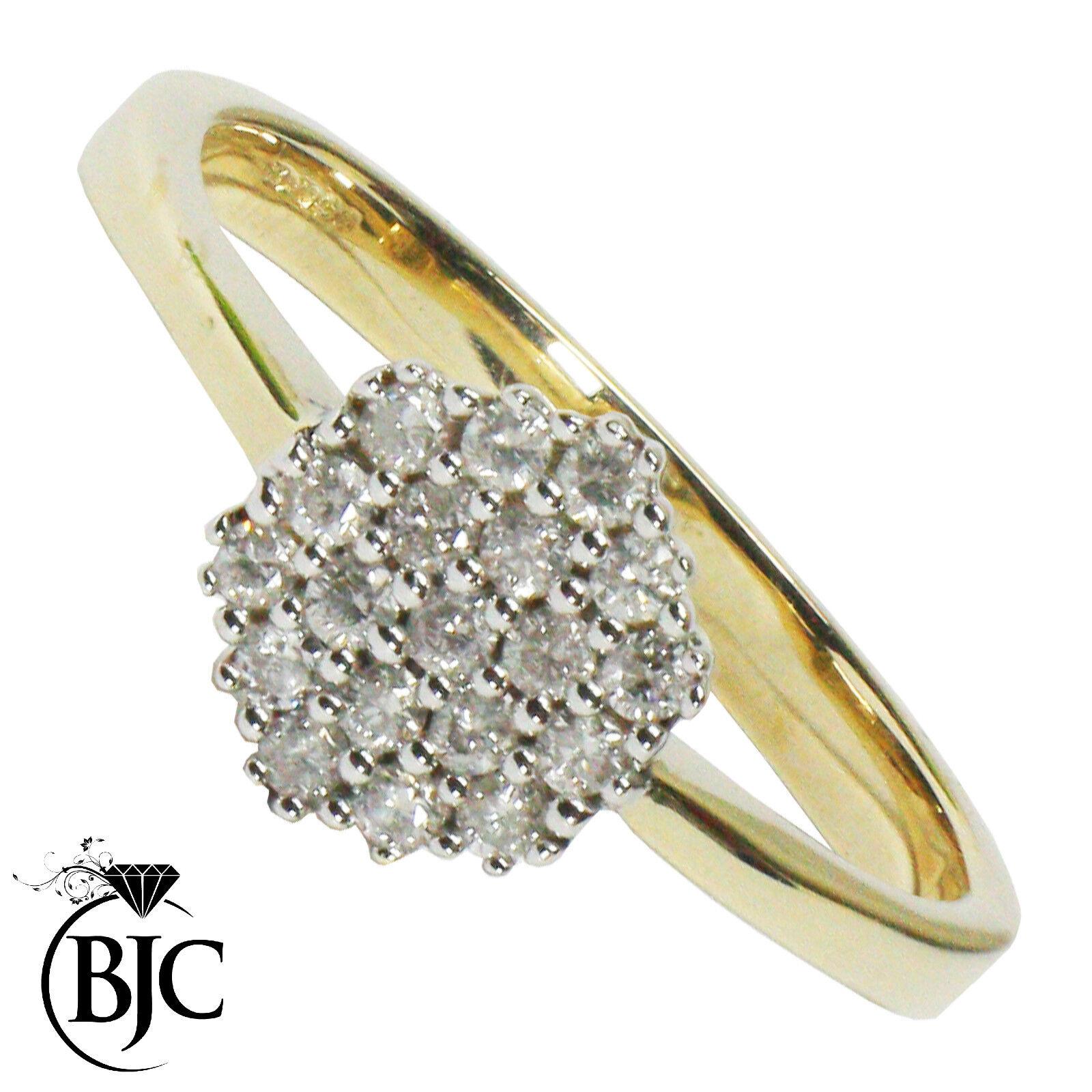 Bjc 9 Karat yellowgold Diamant 0.19ct Ct Größe n Cluster Verlobungsring R110