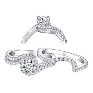 Details About Vintage Wedding Engagement Ring Set 12ct Round Aaa Cz 925 Sterling Silver 5 10