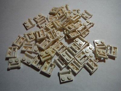 LEGO BULK LOT 40 LIGHT BLUISH GRAY CLOSED END 1X2 PLATES HANDLE SIDE #48336