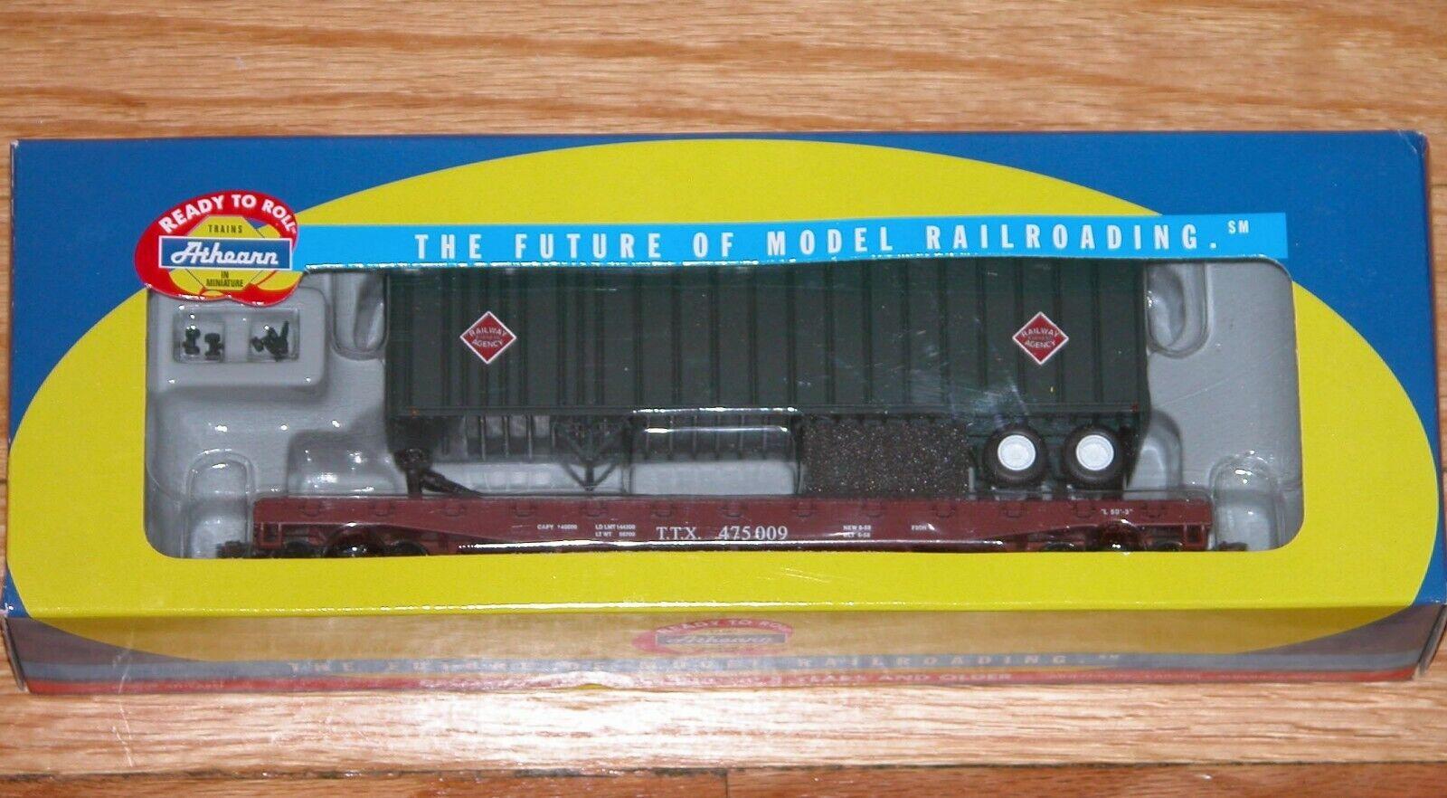 ATHEARN 72462 50' 50' 50' FLAT CAR 40' TRAILER RAILWAY EXPRESS AGENCY TRAILER TRAIN TTX fc2e66