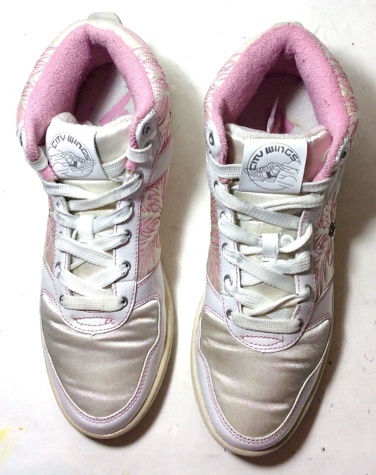 Pony Women's City Wings Cosmo Mid Shoes ( White/ White/ Pink) Size 9.5