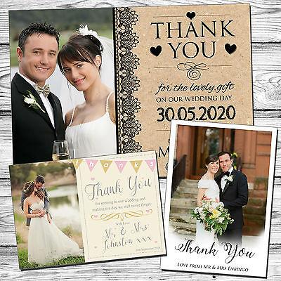 Di Carattere Dolce 50 Vintage Personalizzato Matrimonio Grazie Carte Con Buste Piegata Cartolina-mostra Il Titolo Originale