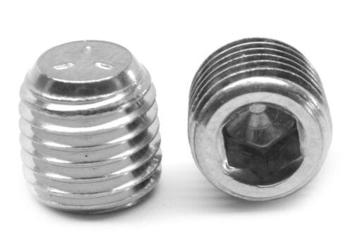 """1//4/"""" NPTF Stainless Steel Socket Head Pipe Plug 3//4/"""" Taper DrysealPack of 10"""