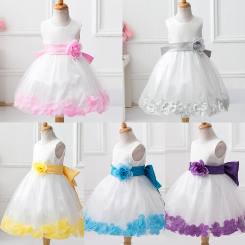 Kid Girl Princess Pageant Bridesmaid Wedding Party Summer Prom Tulle Tutu Dress