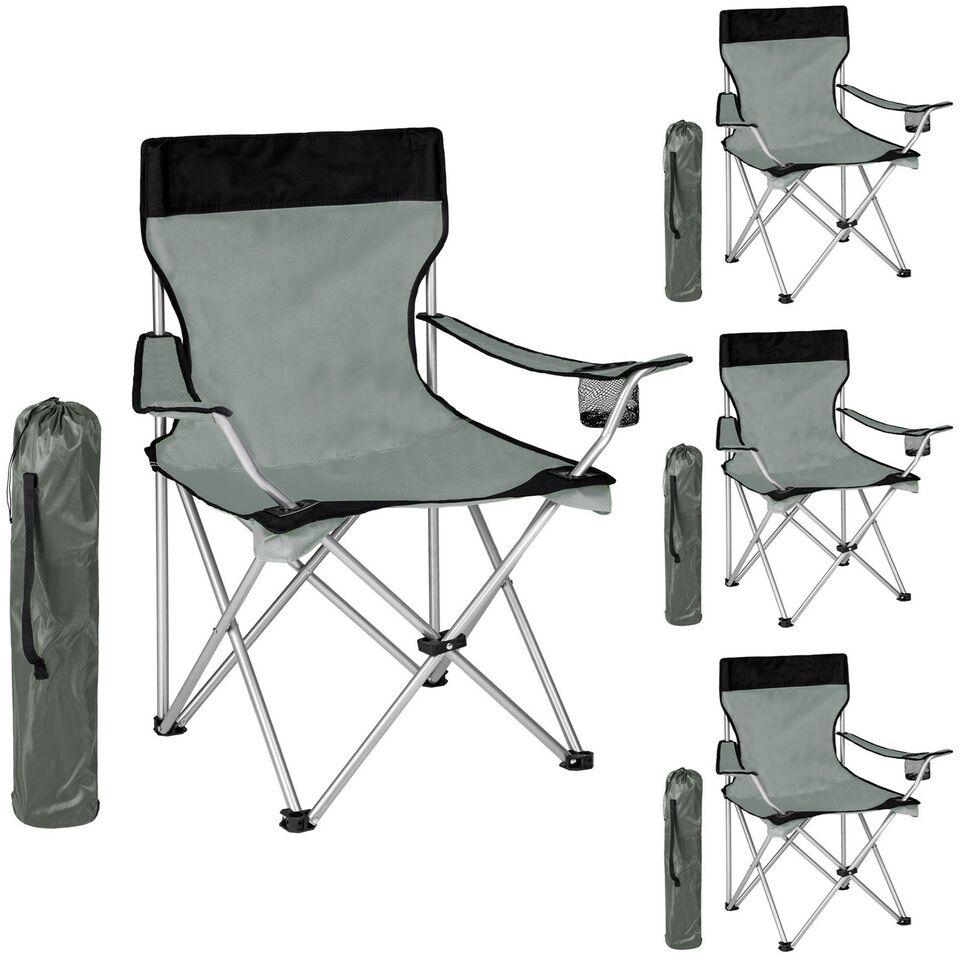 4 Campingstole enkelt grå