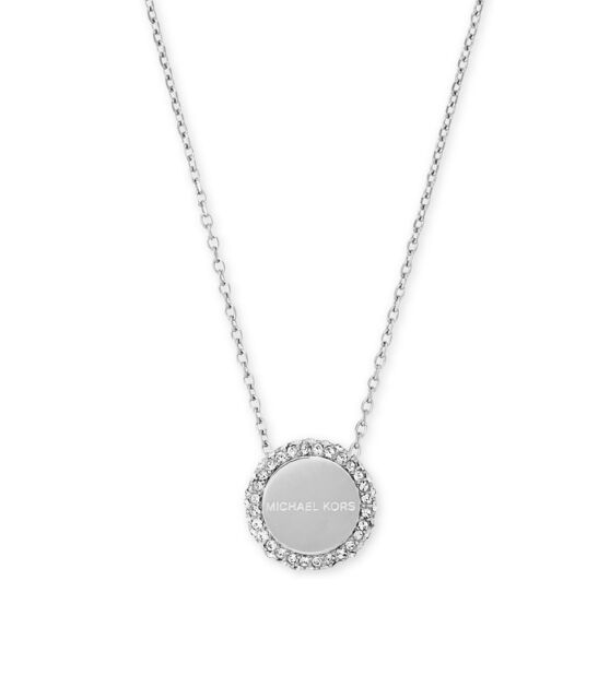 Michael kors mkj6179040 crystal pave logo disc pendant necklace michael kors mkj6179 silver logo pave disc circle pendant necklace mkj6179040 aloadofball Images