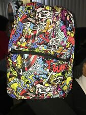 "Marvel Comic Backpack Book Bag Tote Full Size 16"" Multi Color School"