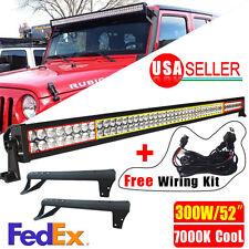 "300W 52"" LED Light Bar+Mounting Brackets+Wiring For Jeep JK Wrangler 7000K Cool"