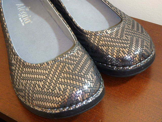 ALEGRIA PEWTER PEWTER PEWTER DAZZLER LEATHER SLIP ON FLATS SHOES PETAL SIZE 6 NEW NO BOX 279477