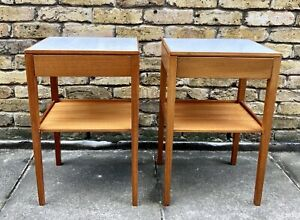 Pair-Of-Mid-Century-Remploy-Bedside-Tables-Solid-Teak-with-Formica-Tops-1970s