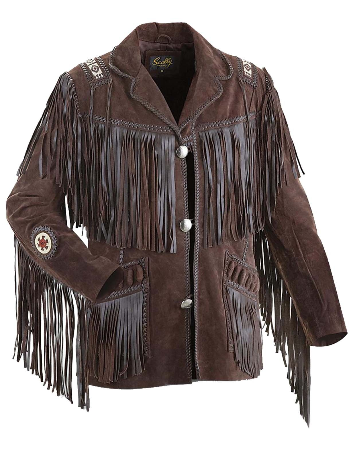Herren Western Pelle Indossare Cowboy Frangia Native American Cappotto Giacca IT