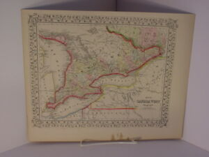 Colored Map Of Canada.1860 Mitchell Maps Canada East Canada West 2 Original Hand